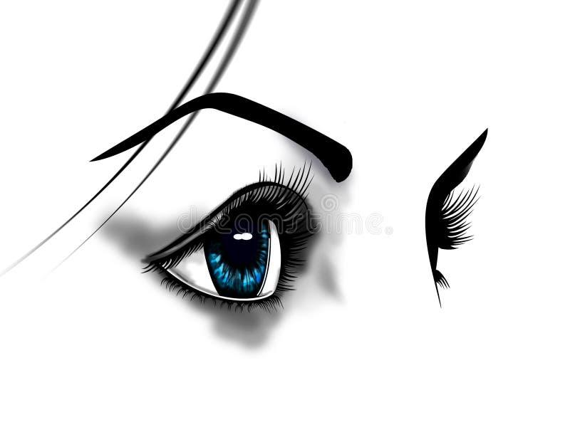 blåa ögon stock illustrationer
