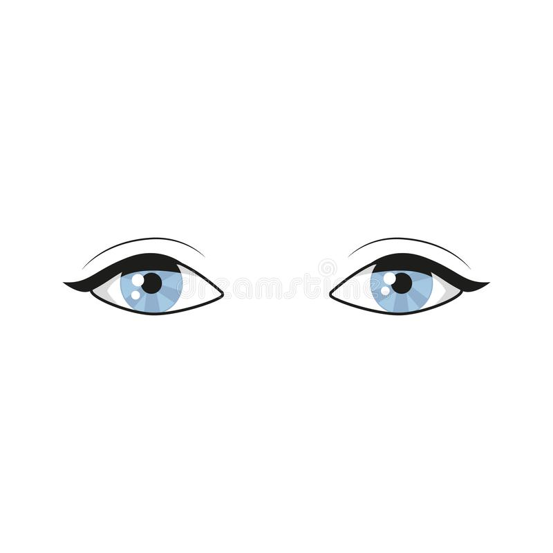Blåa ögon på vit bakgrund den härliga closen eyes den med textsidan upp kvinnan Ögonlogoen Mänskliga ögon stänger sig upp vektori vektor illustrationer