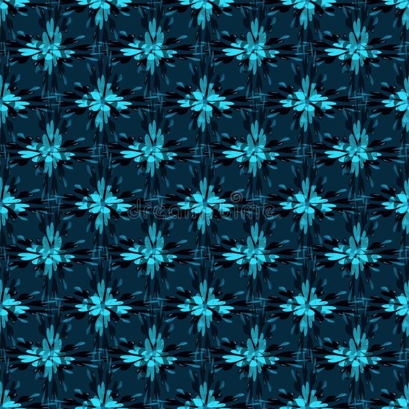 Blåa abstrakta blommor på sömlös modellillustration för mörk bakgrund royaltyfri illustrationer