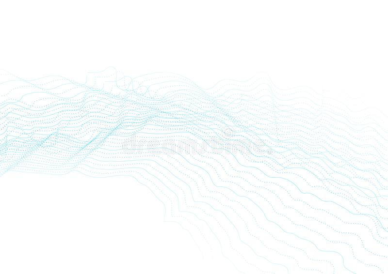 Blåa abstrakta futuristiska krabba prickiga linjer bakgrund stock illustrationer