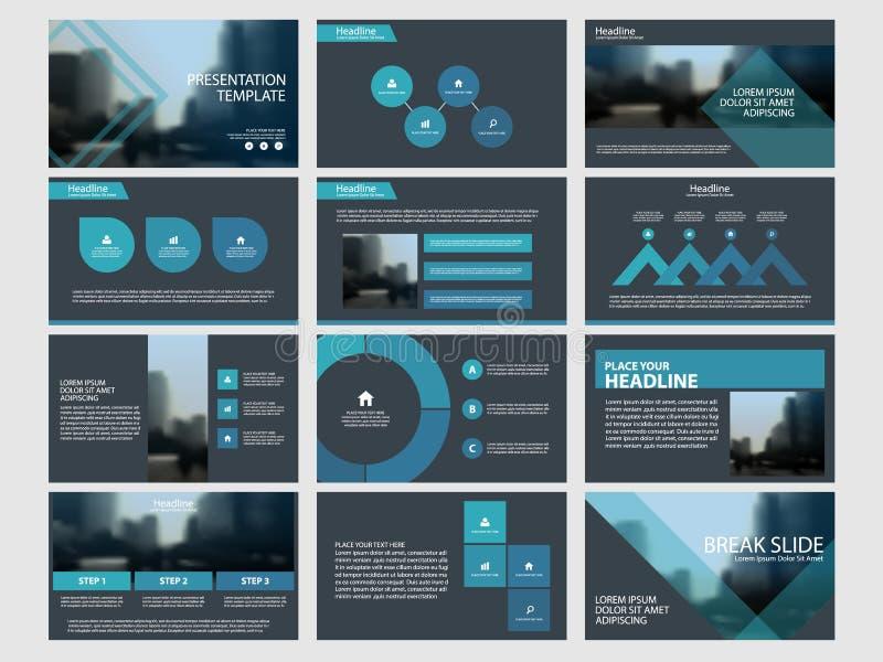 Blåa abstrakta presentationsmallar, uppsättning för design för lägenhet för Infographic beståndsdelmall för broschyr för årsrappo vektor illustrationer
