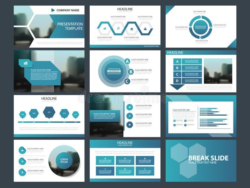 Blåa abstrakta presentationsmallar, uppsättning för design för lägenhet för Infographic beståndsdelmall för broschyr för årsrappo stock illustrationer