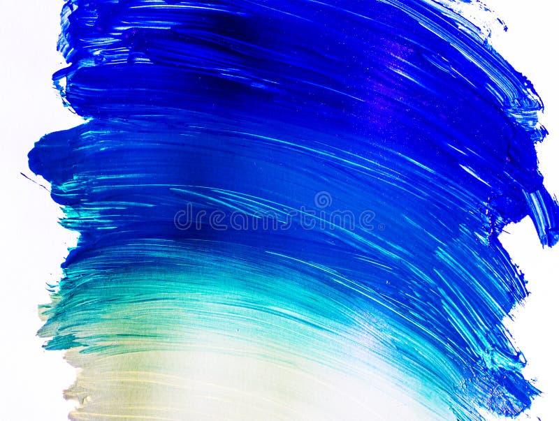 Blåa akrylpenseldrag royaltyfri foto