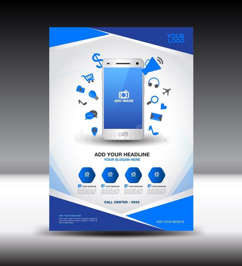 Blåa annonser för tidskrift för orientering för design för affärsbroschyrreklamblad, mobil I royaltyfri illustrationer