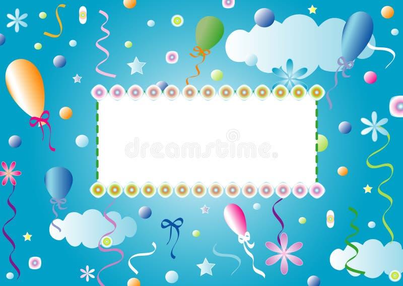 Blåa barns vykort för pojke vektor illustrationer