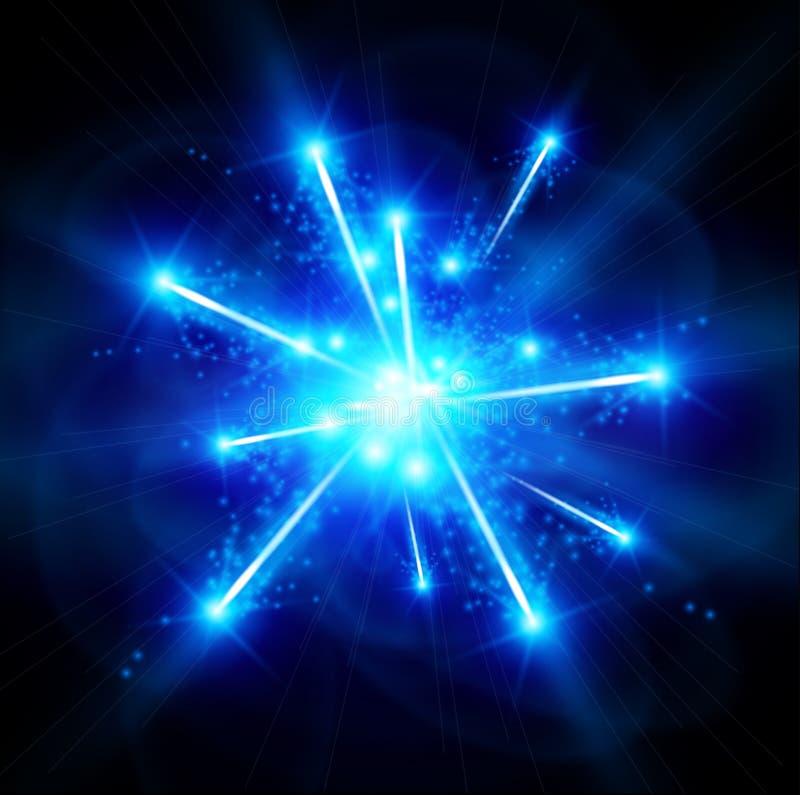 Blåa Big Bang stock illustrationer