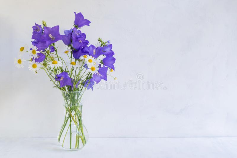 Blåa blommor för sommar i en vas på en ljus bakgrund arkivfoton