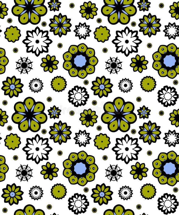 blåa blommor green seamless royaltyfri illustrationer