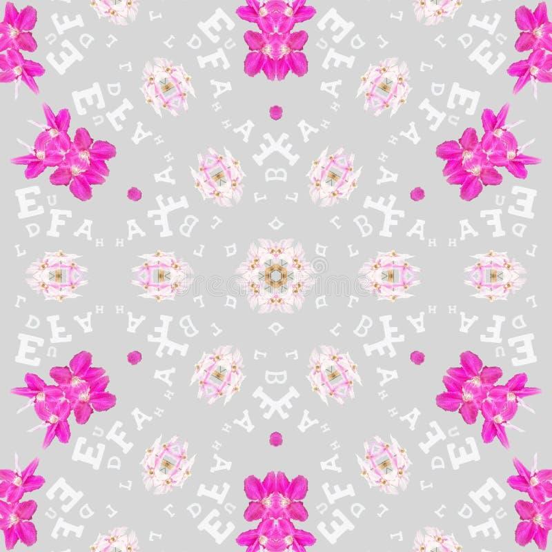 Blåa blommor i mandala i purpurfärgad bakgrund vektor illustrationer