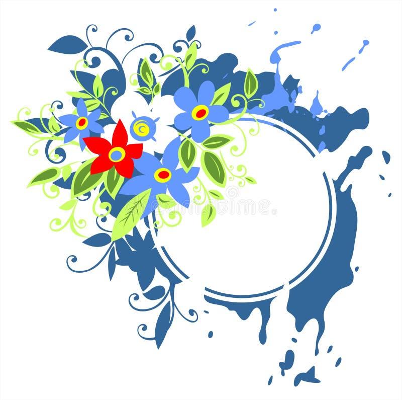 blåa blommor inramniner grunge royaltyfri illustrationer