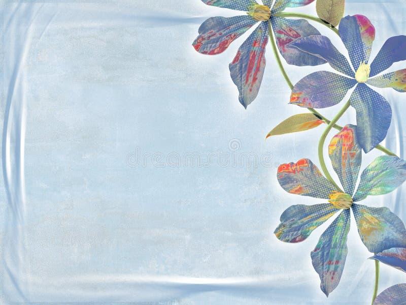 Blåa blommor på den blåa bakgrunden, berömkort stock illustrationer