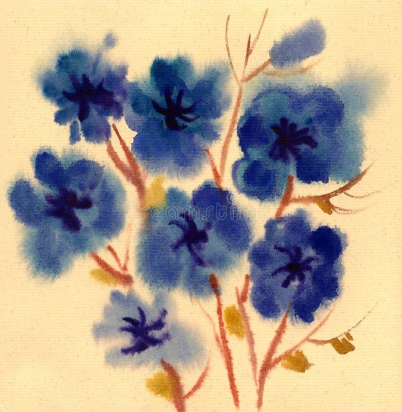 Download Blåa Blommor Som Målas I Vattenfärg Stock Illustrationer - Illustration av säsongsbetonat, gulligt: 27288046