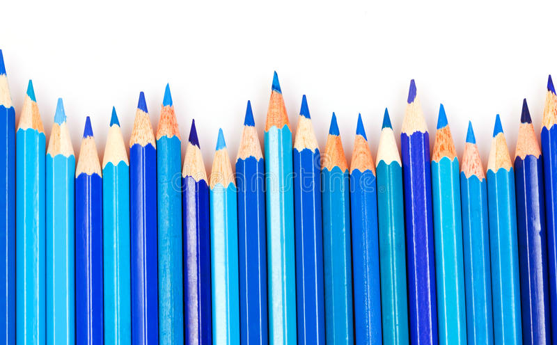 blåa blyertspennor royaltyfria foton