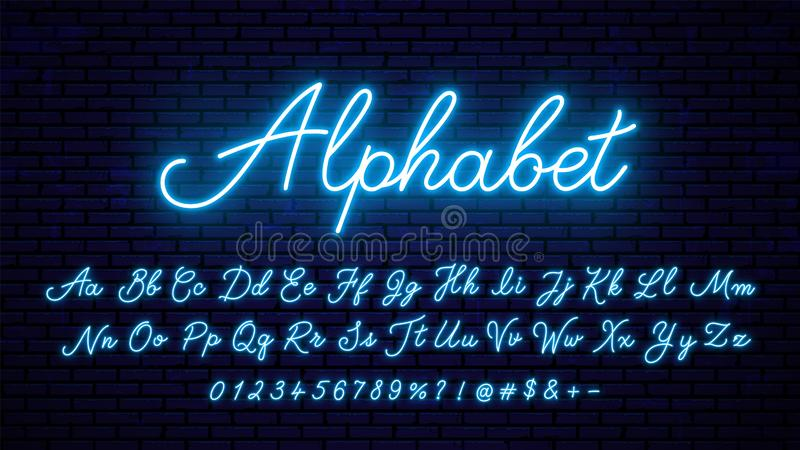 Blåa bokstäver för neon royaltyfri illustrationer
