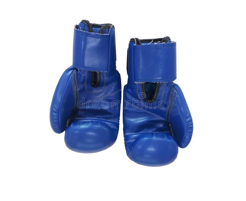 Blåa boxas handskar på vit bakgrund, sport är populära royaltyfri foto
