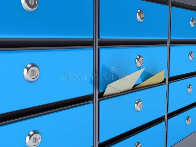 blåa brevlådor royaltyfri illustrationer