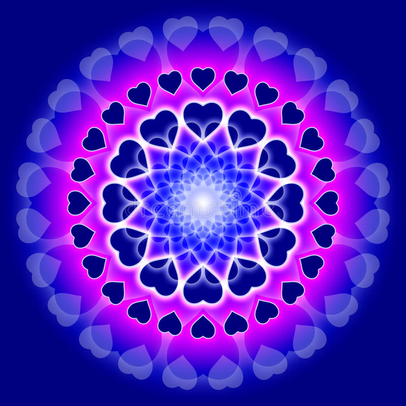 blåa cirkelhjärtor älskar mandalaen vektor illustrationer