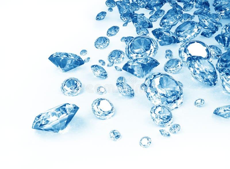 blåa diamanter stock illustrationer