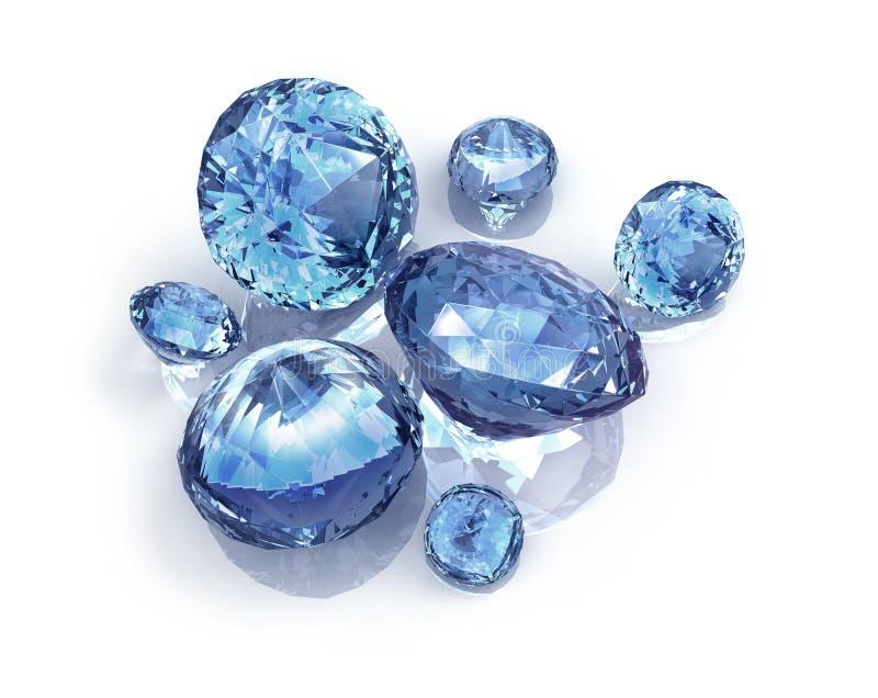 Blåa diamanter vektor illustrationer