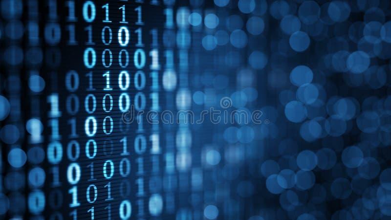 Blåa digitala binära data på datorskärmen
