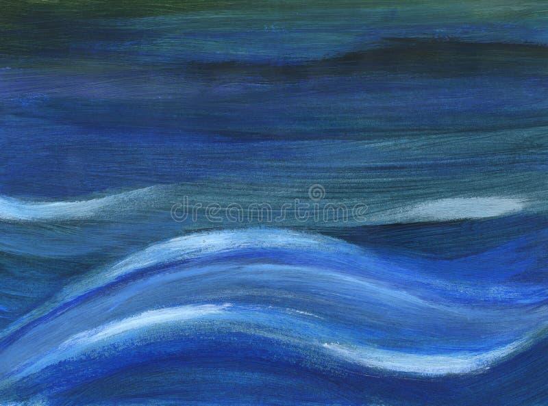 blåa djupa waves vektor illustrationer