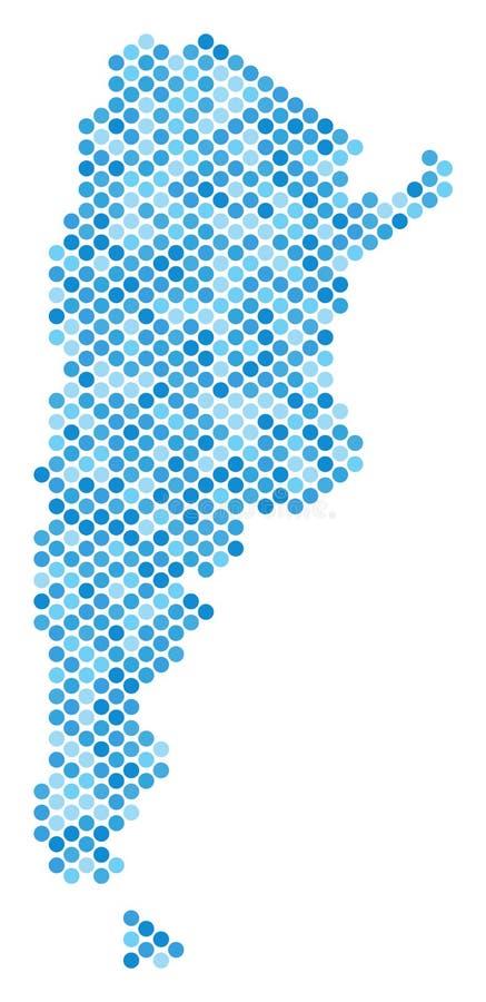 Blåa Dot Argentina Map stock illustrationer