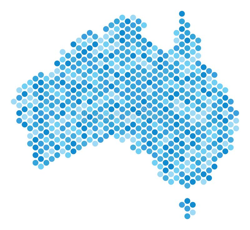 Blåa Dot Australia Map stock illustrationer
