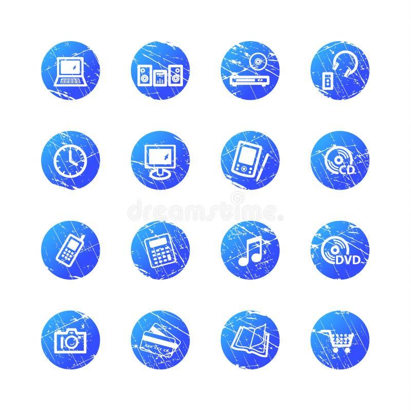 blåa e-grungesymboler shoppar vektor illustrationer