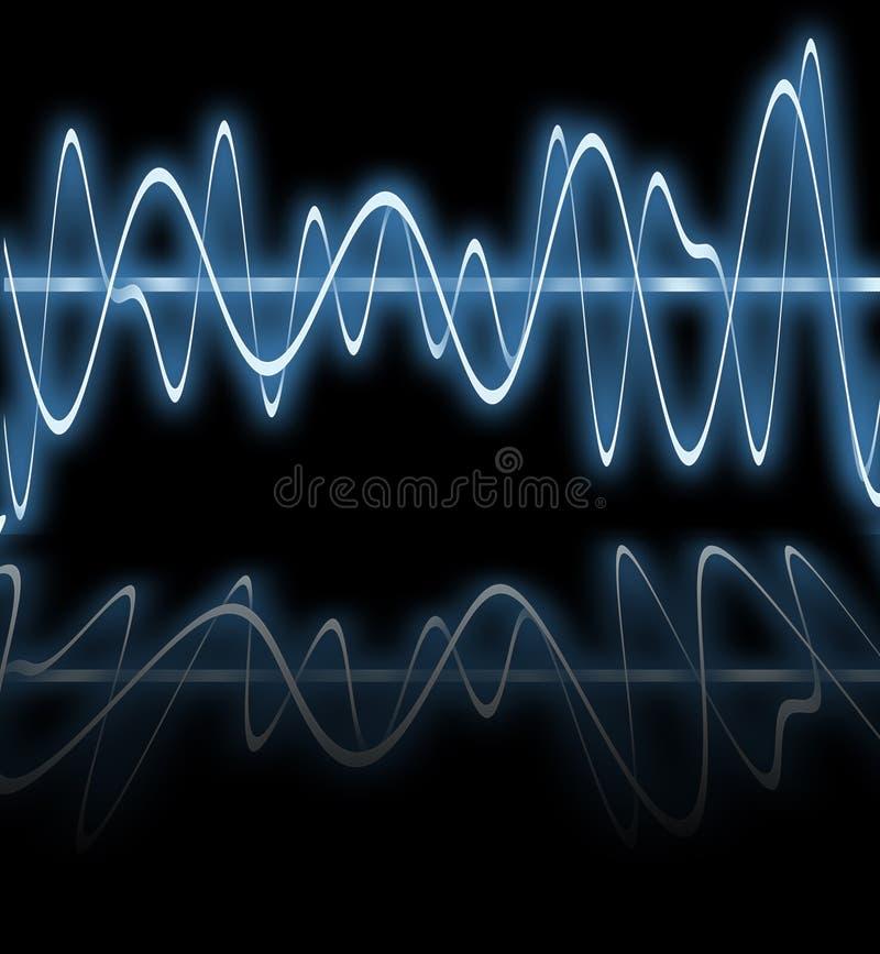 blåa elektriska reflexionswaves royaltyfri illustrationer