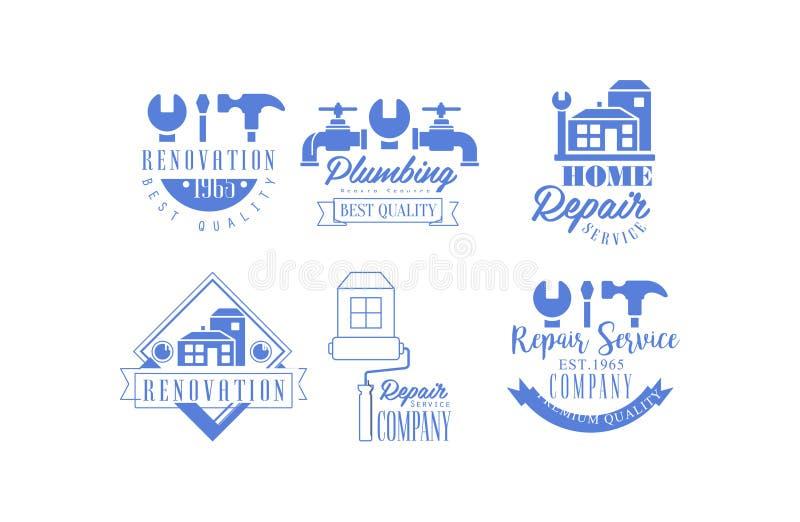 Blåa emblem för original för att reparera företag Rörmokeri och hem- renoveringservice Vektordesign för affärskort eller royaltyfri illustrationer