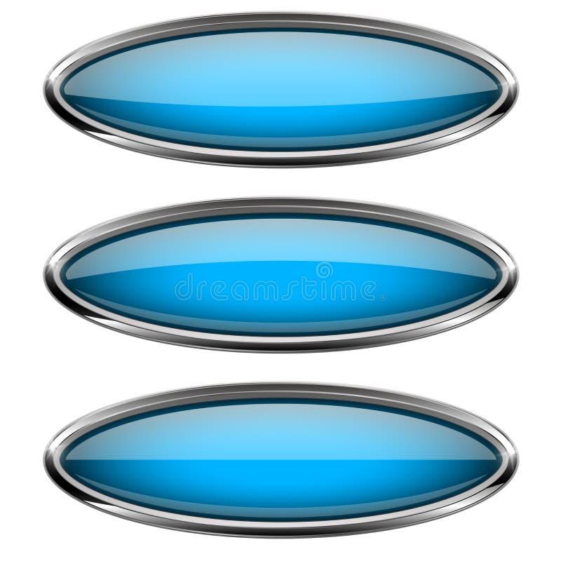 Blåa exponeringsglasknappar för Oval med metallramen stock illustrationer