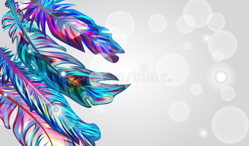 blåa fjädrar royaltyfri illustrationer