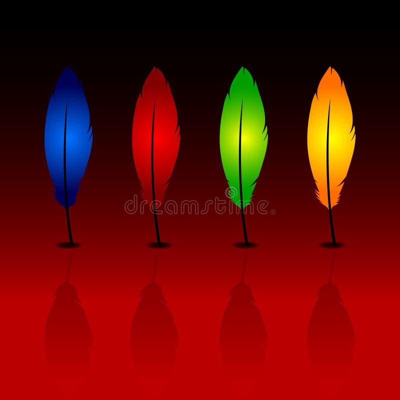 blåa fjädrar green skugga för orange red royaltyfri fotografi
