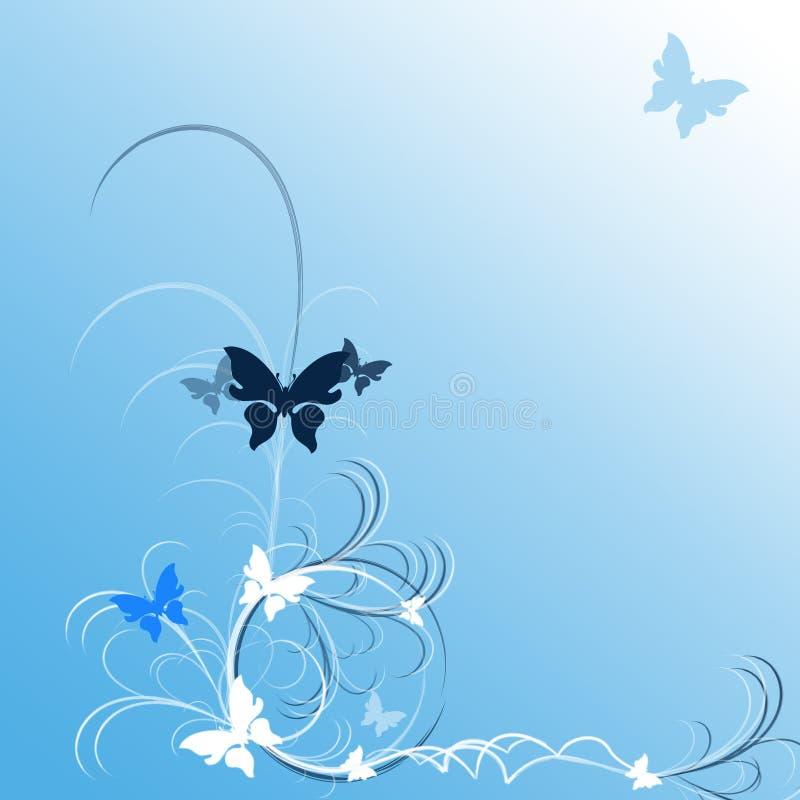 blåa fjärilar royaltyfri illustrationer
