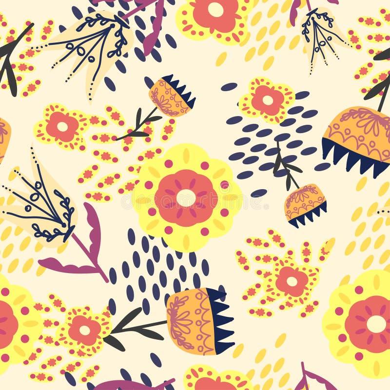 Blåa folk blom- prydnader på ett ljust - gul färg vektor illustrationer