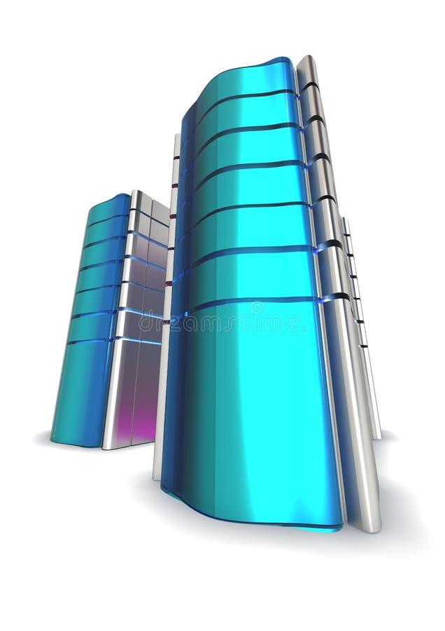 blåa futuristic serveror royaltyfri illustrationer