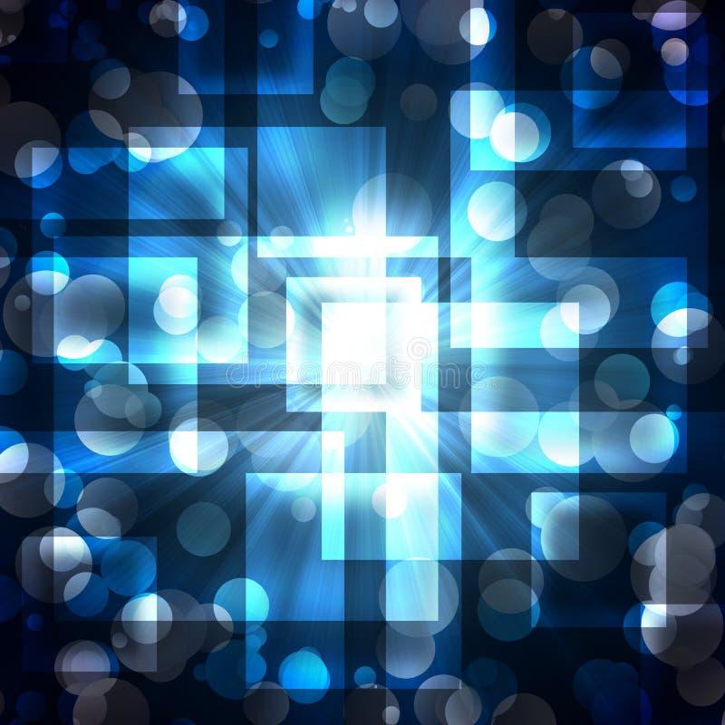 Blåa fyrkanter med ljusa cirklar på en dark royaltyfri illustrationer