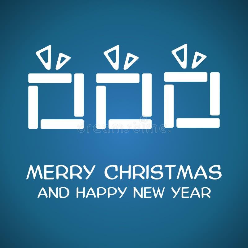 Blåa fyrkantiga julgåvor vektor illustrationer
