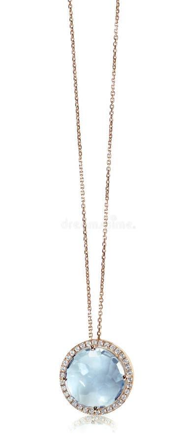 Blåa Gemstone och Diamond Pendant Necklace arkivfoton