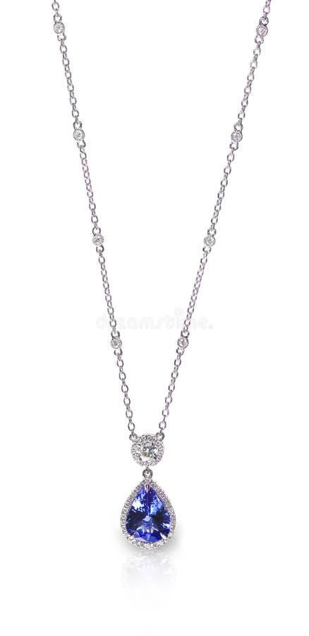 Blåa Gemstone och Diamond Pendant Necklace arkivbilder