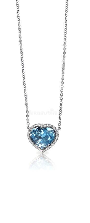 Blåa Gemstone och Diamond Pendant Necklace royaltyfria bilder