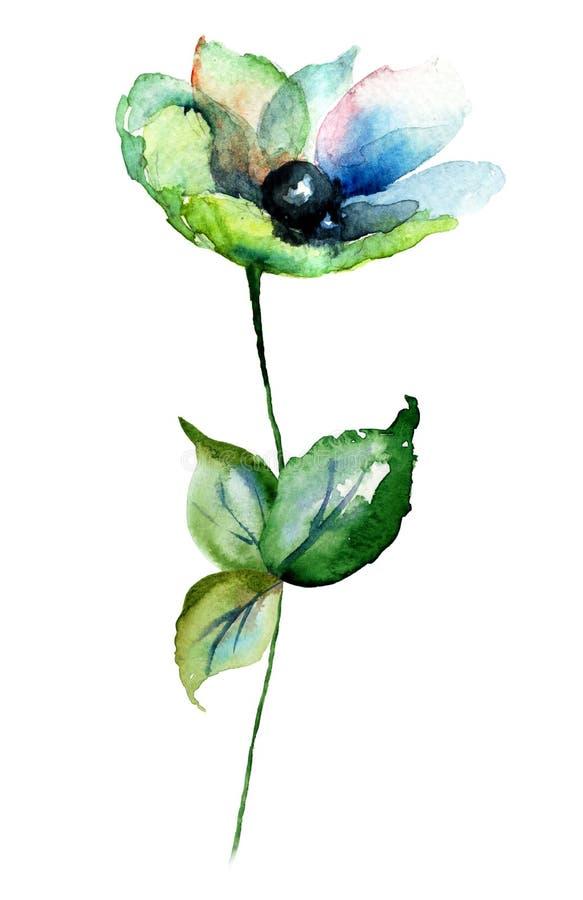Blåa Gerber blommor vektor illustrationer