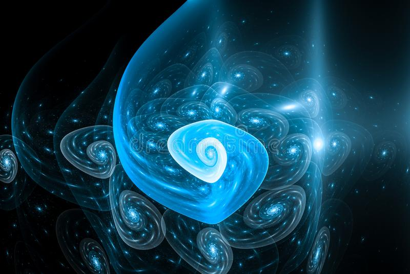 Blåa glödande åtskilliga fibonacci spiral i abstrakt konstverk för multiverse royaltyfri illustrationer