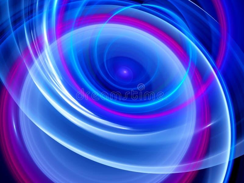 Blåa glödande kurvor i utrymme royaltyfri illustrationer