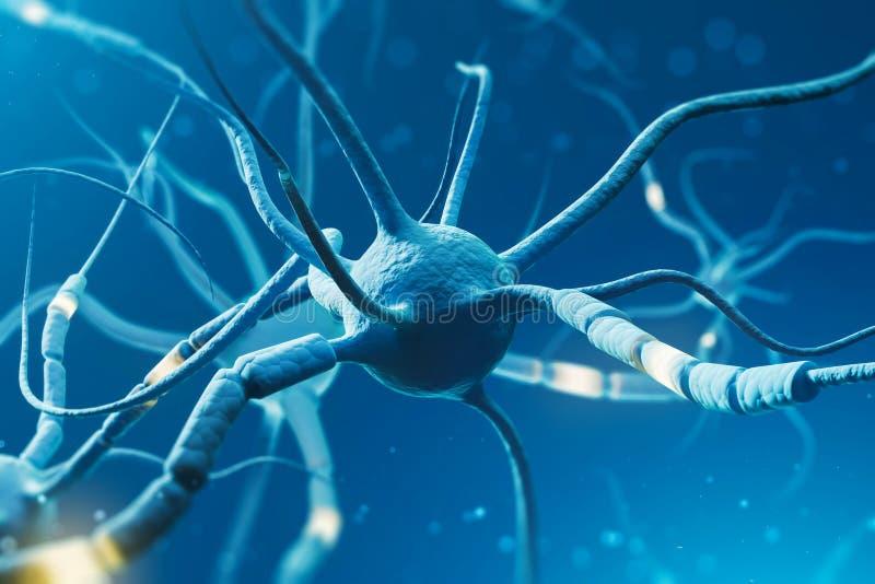 Blåa glödande neurons över blå bakgrund stock illustrationer