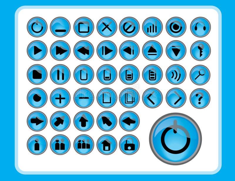 blåa glansiga symboler stock illustrationer