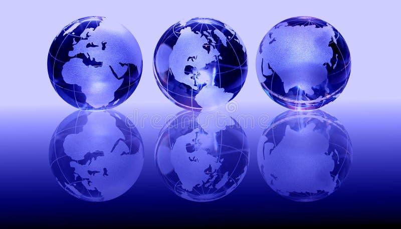 blåa glass jordklot stock illustrationer