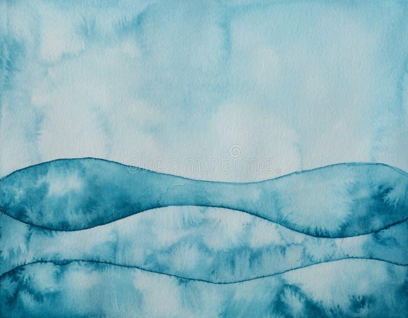 blåa gröna waves royaltyfri illustrationer