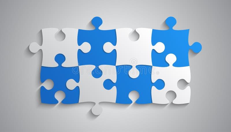 Blåa Grey Piece Puzzle Rectangle Banner Pussel royaltyfri illustrationer