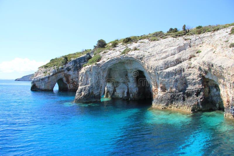 blåa grottor zakynthos royaltyfri bild